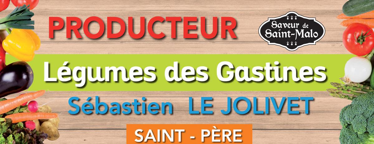 plaquette, panneau dépliant, Légumes des Gastines, Saint-Père, Saint Malo, Sébastien Le Jolivet, Guénola Le Jolivet, producteur, maraicher, maraichage, petit producteur, local